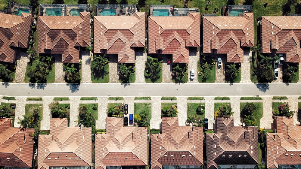 aerial photography of brown houses