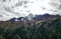 aerial view of mountain peak