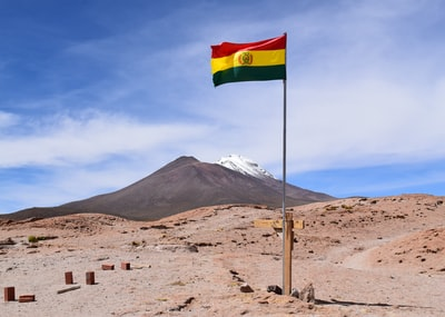 flag stuck on ground bolivia zoom background