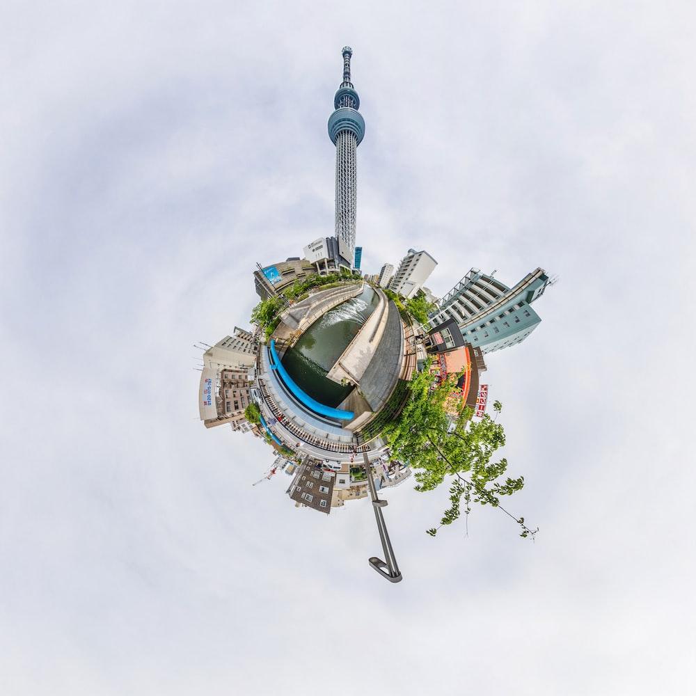 round view of city