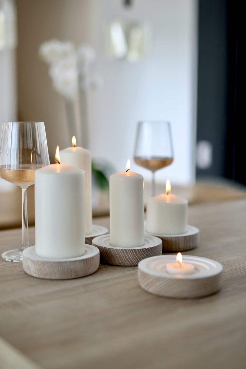lighted pillar candles