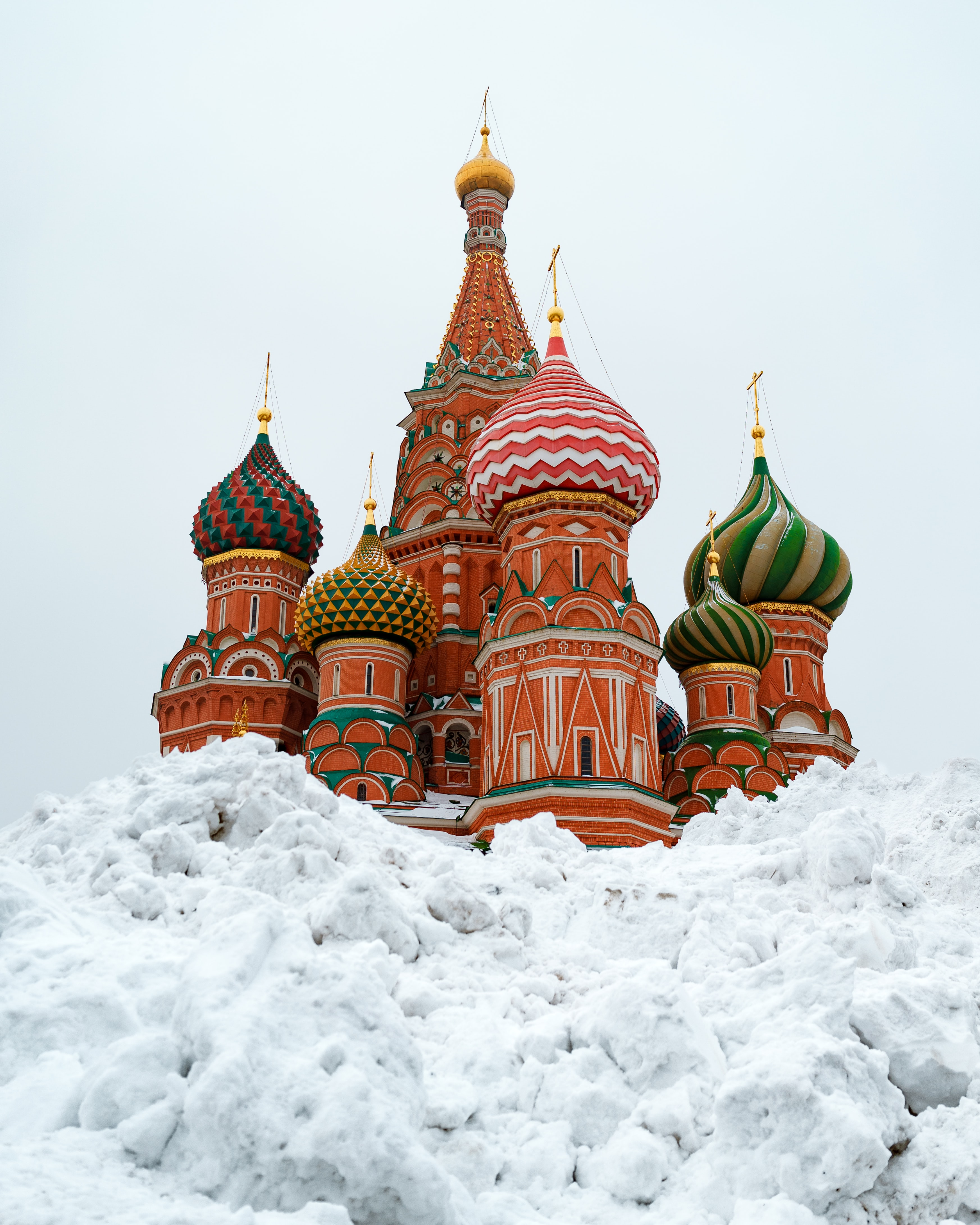snow outside St. Basil's Cathedral during daytime