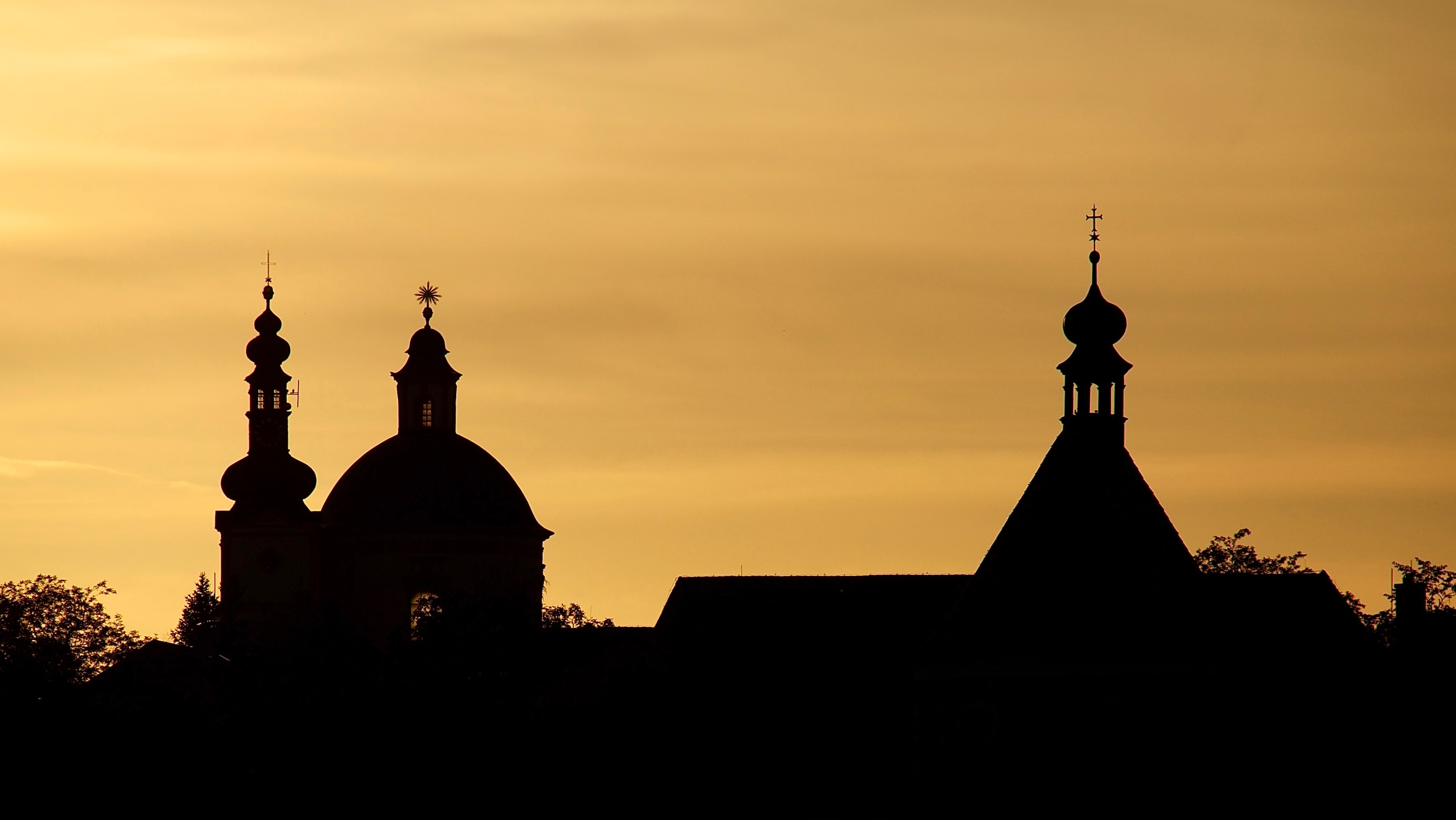 silhouette photo of cathedral