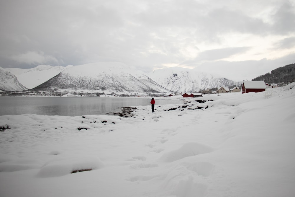 person standing beside lake near covered snow mountain during daytime