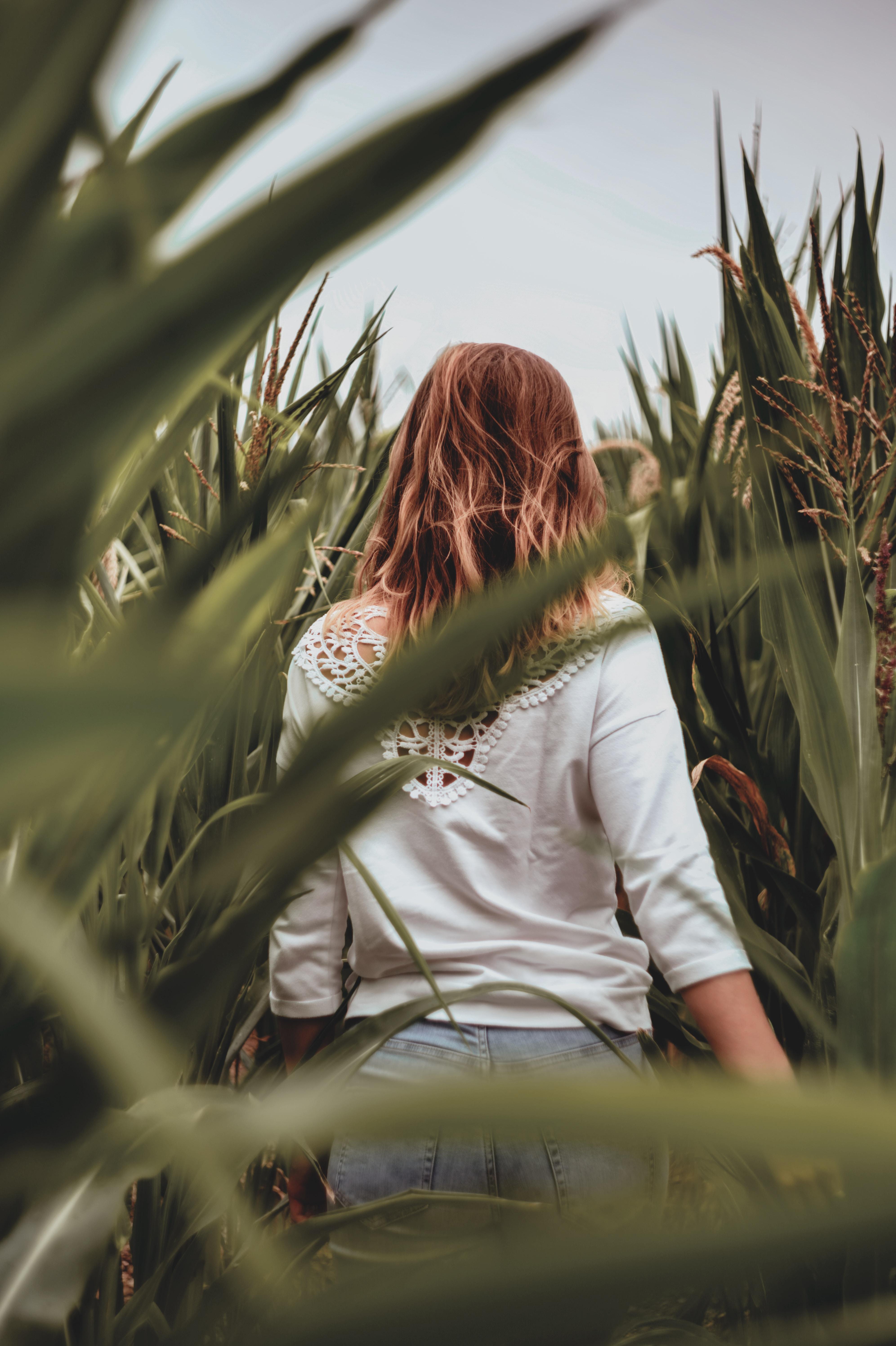 woman in plant field