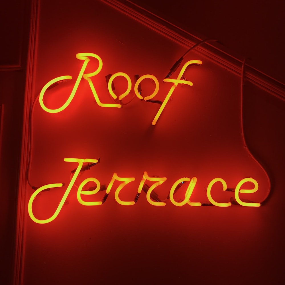 lighted Roof Terrace neon signage