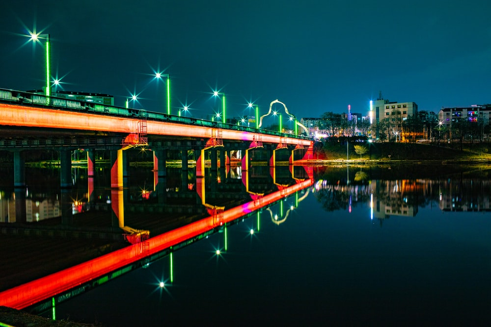 green and red lights on bridge
