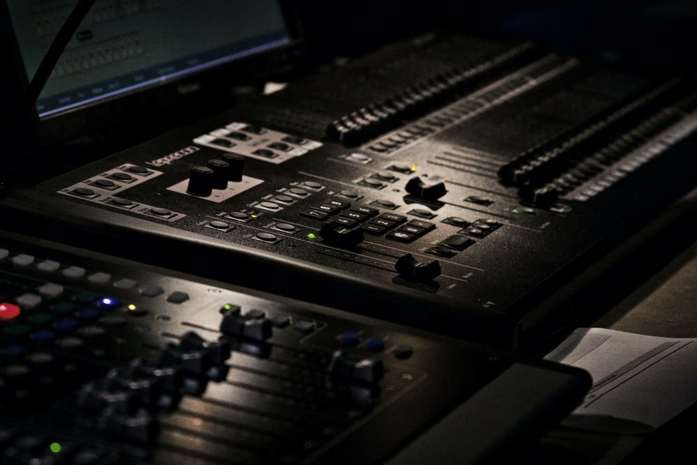 black mixing console