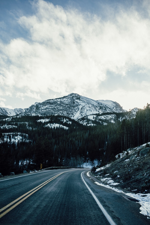 asphalt road between trees overlooking mountain range during daytime