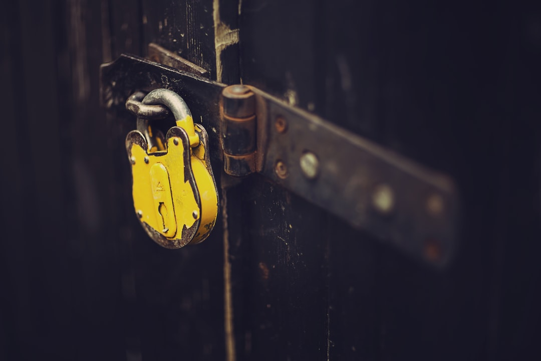 Security lock yellow on steel door
