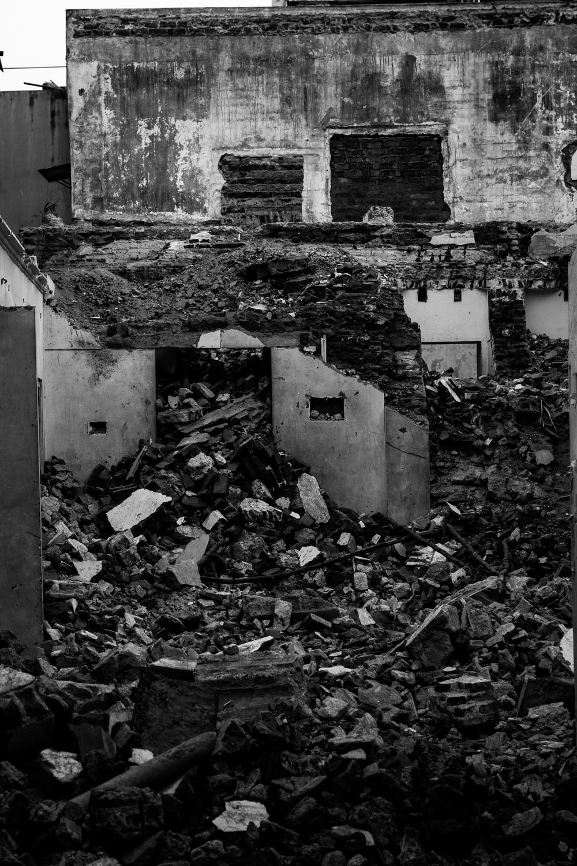 grayscale photo of abandon house