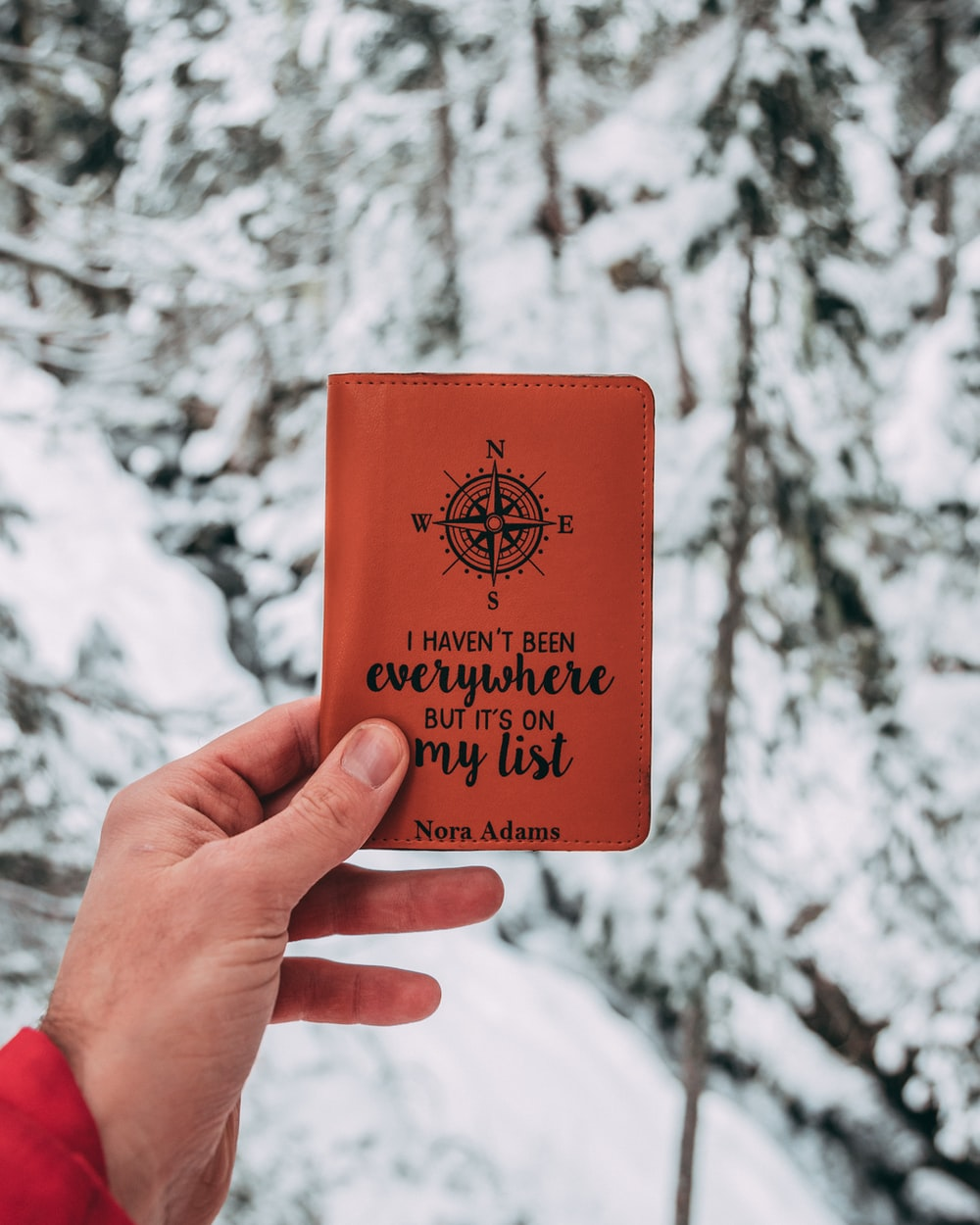 person holding brown pocket book