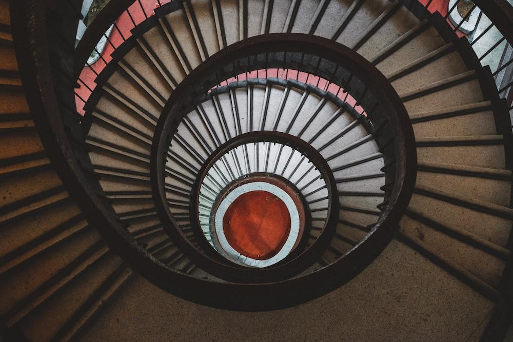 black spiral stairs