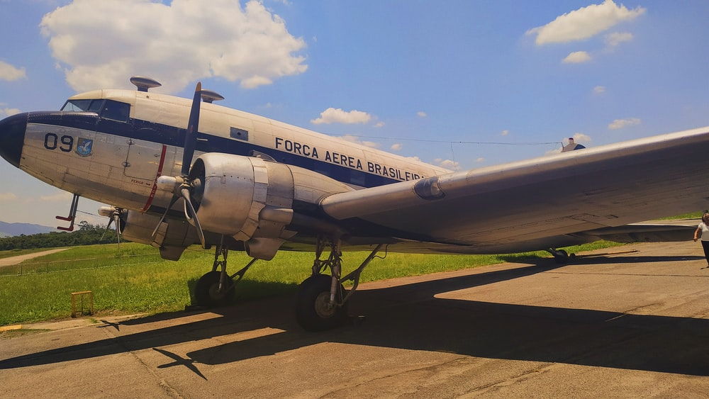 white airline under white sky