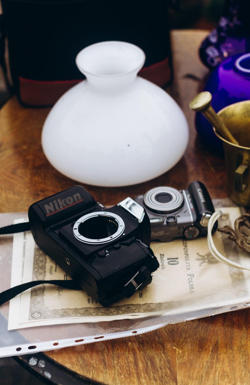 Nikon DSLR camera on printer paper