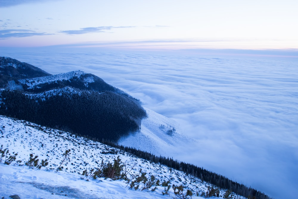 aerial view photography of mountain covered with snow