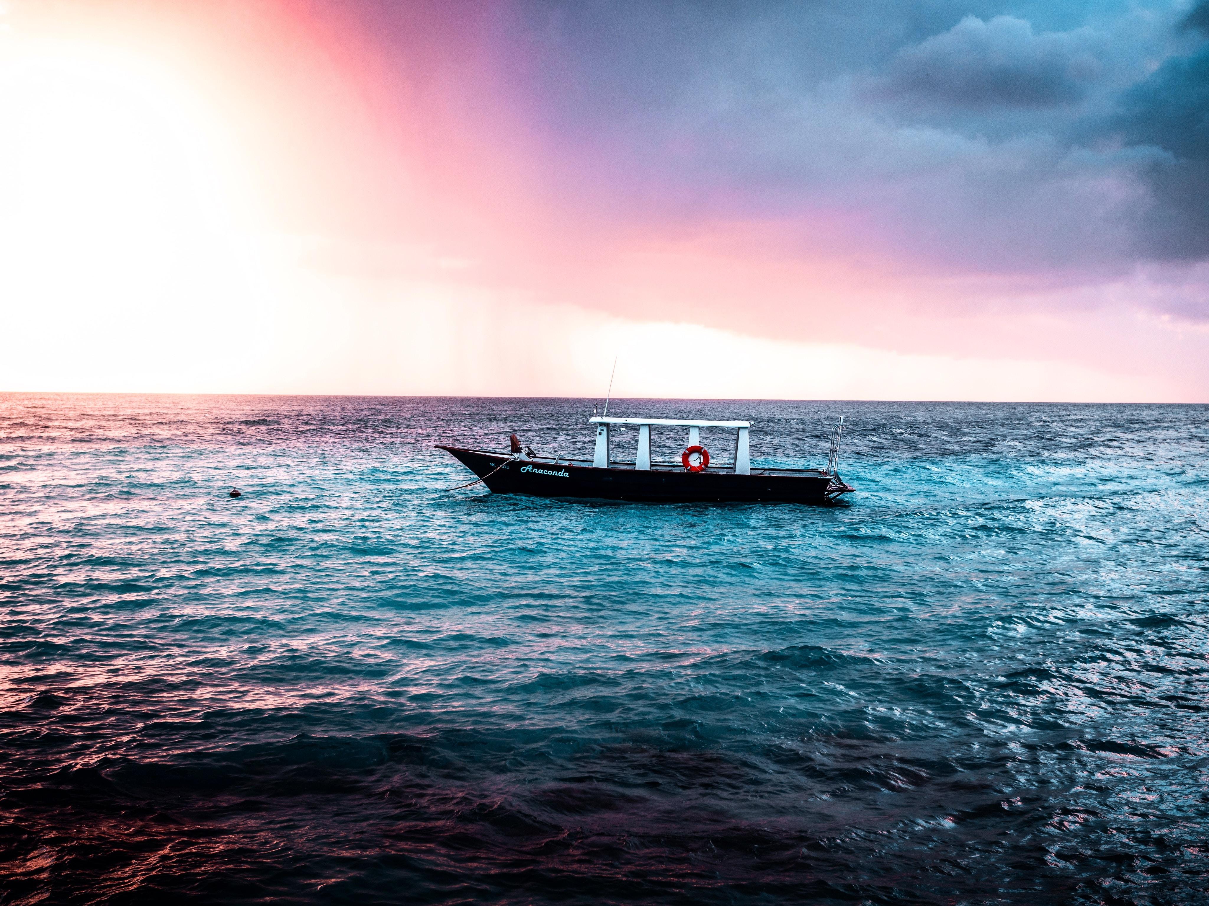 empty boat on the sea