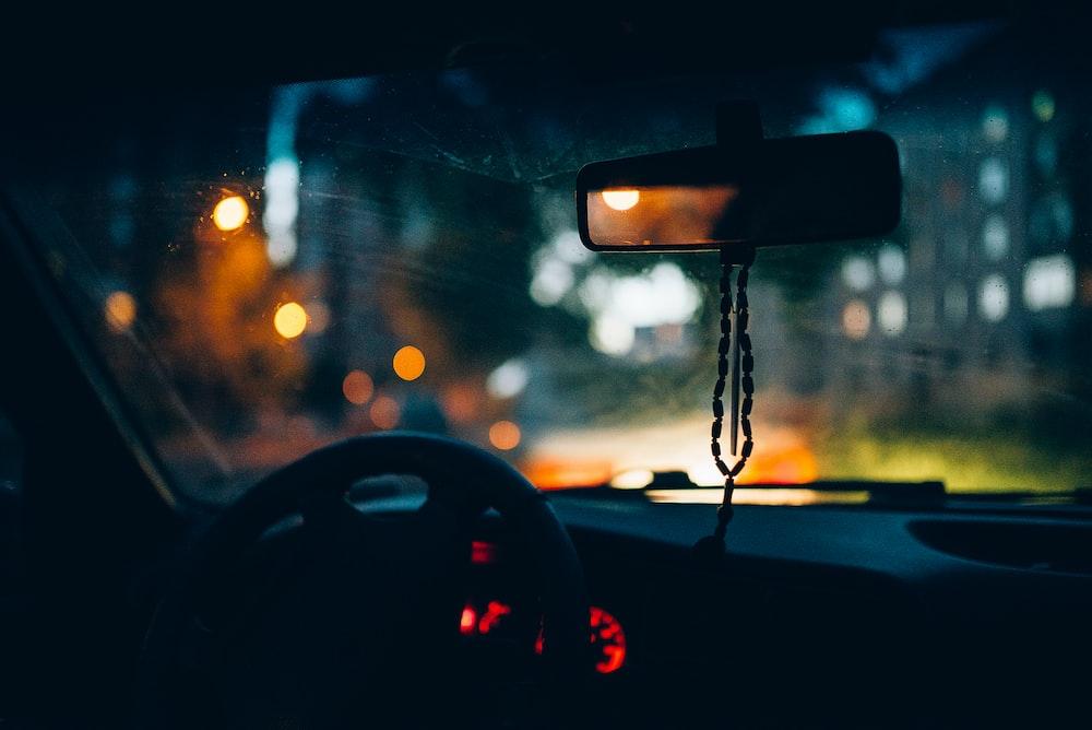 silhouette photo of car interior