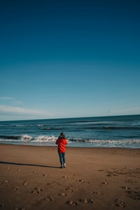 person wearing red jacket overlooking on sea
