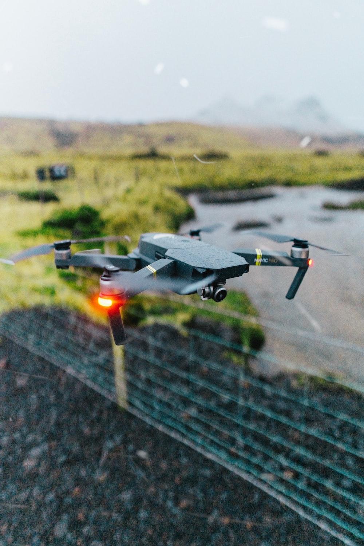 gray drone on flight