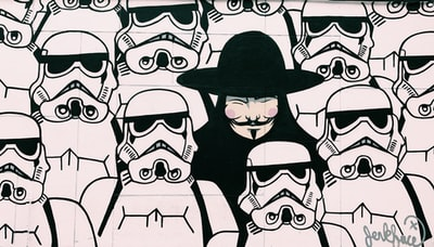 Guy Fawks surrounded by Star Wars Stormtrooper illustration