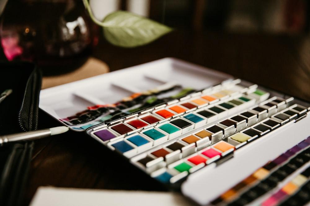 assorted-color makeup palette set