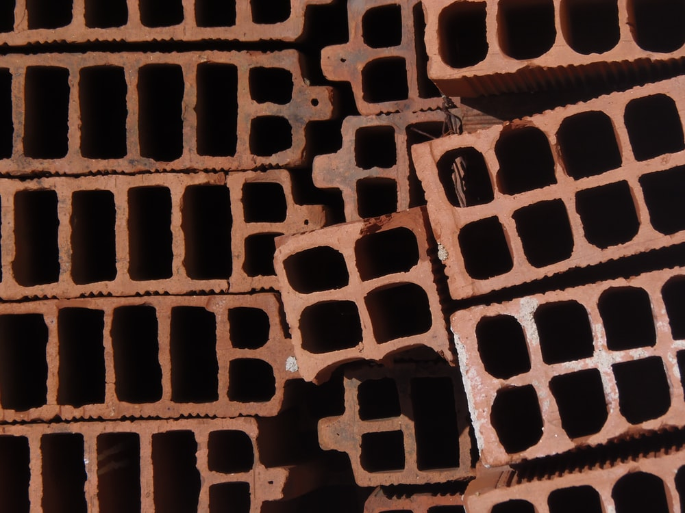 high-angle photography of concrete bricks