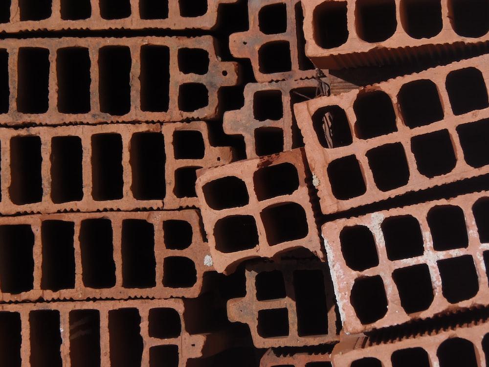 high-angle photography of concrete bricks