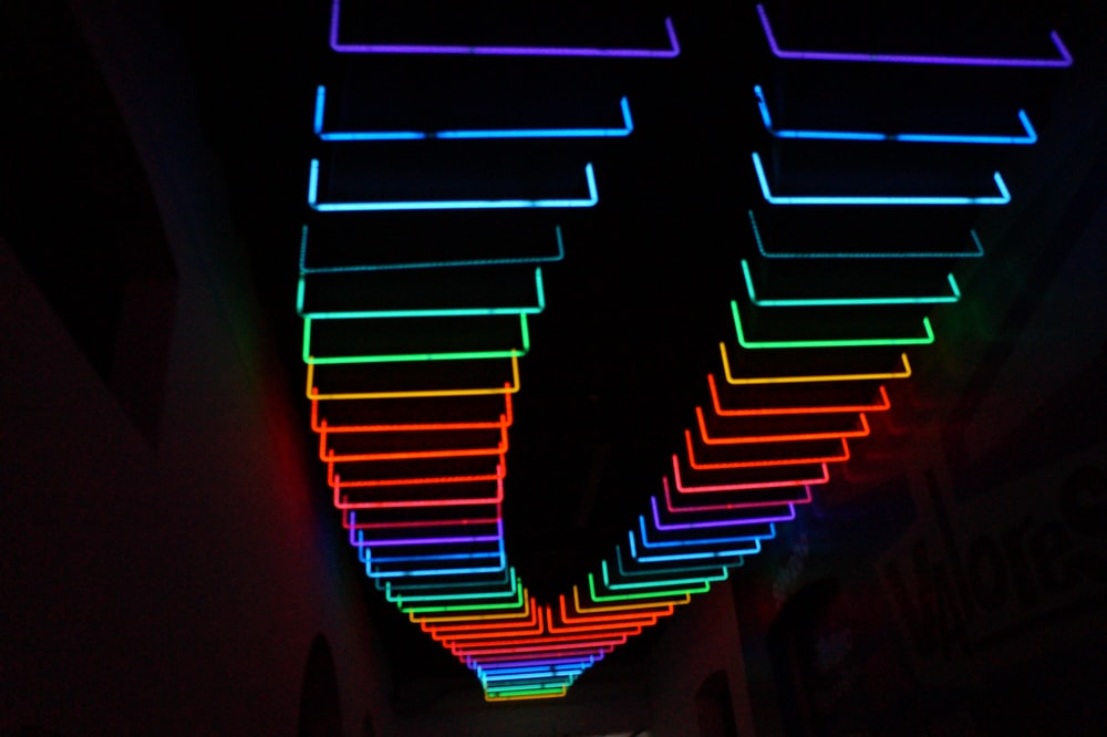 assorted-color LED light beams