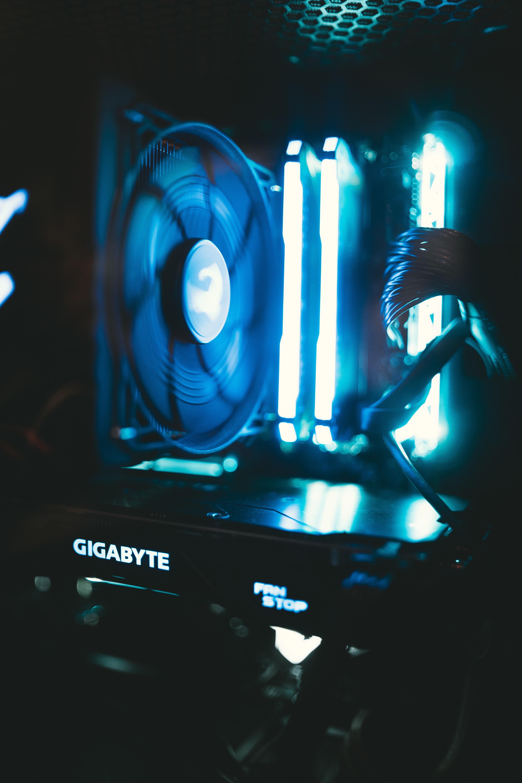 black Gigabyte computer tower