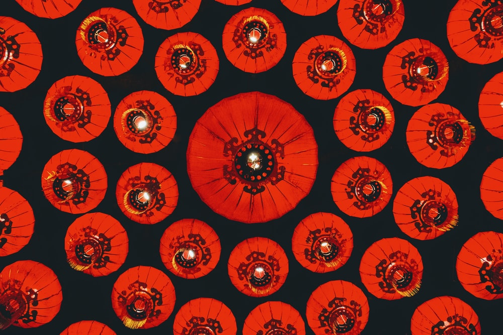 round orange lantern lot