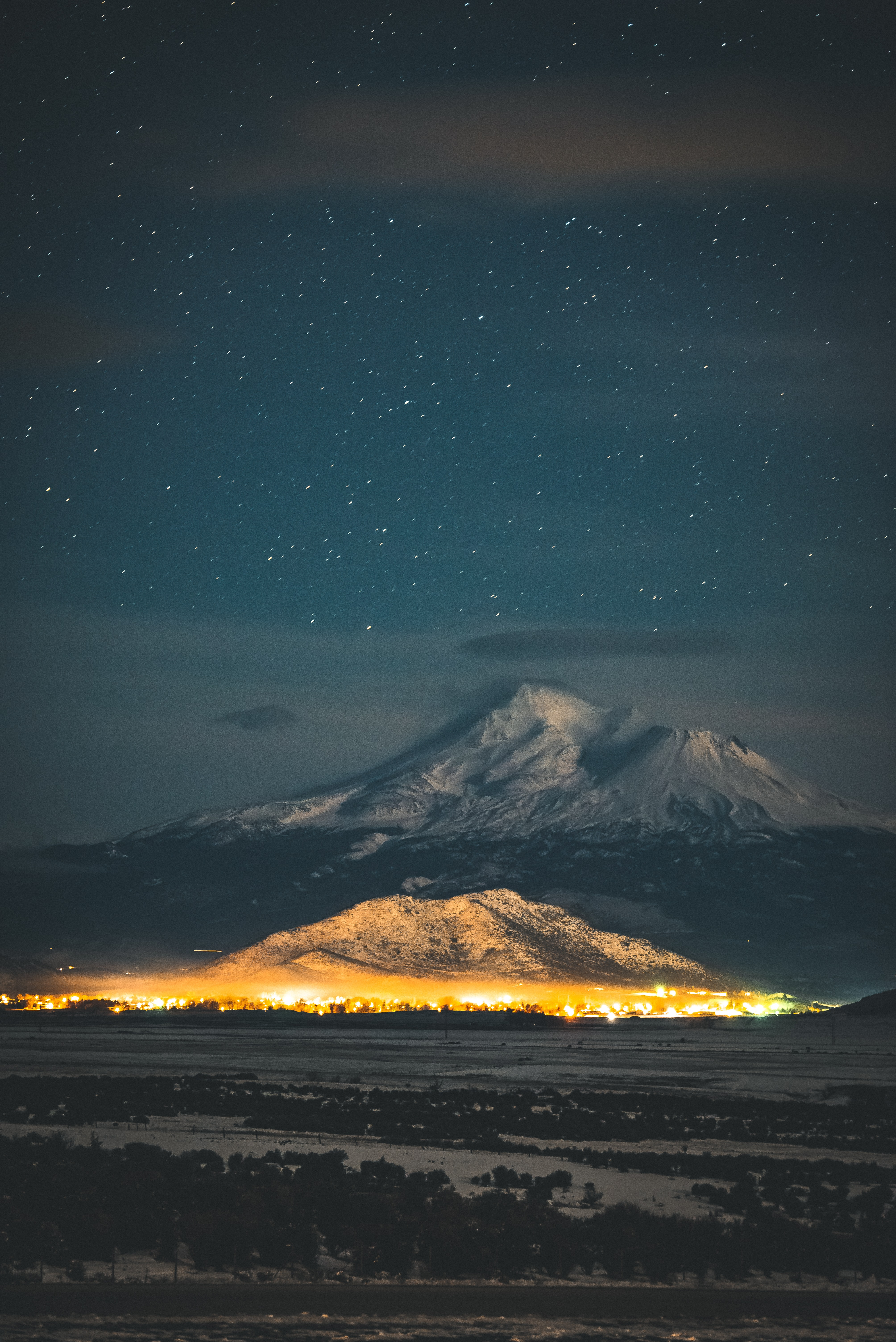 yellow lighted mountain