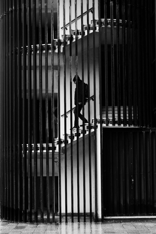 man walking down on stairs