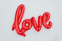 red inflatable love wall decor