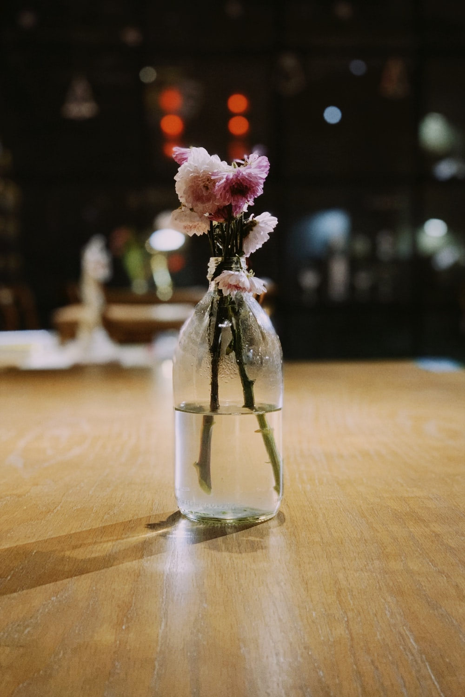 pink petaled flower inside bottle