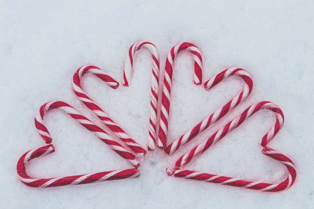 red-and-white candy cane lot