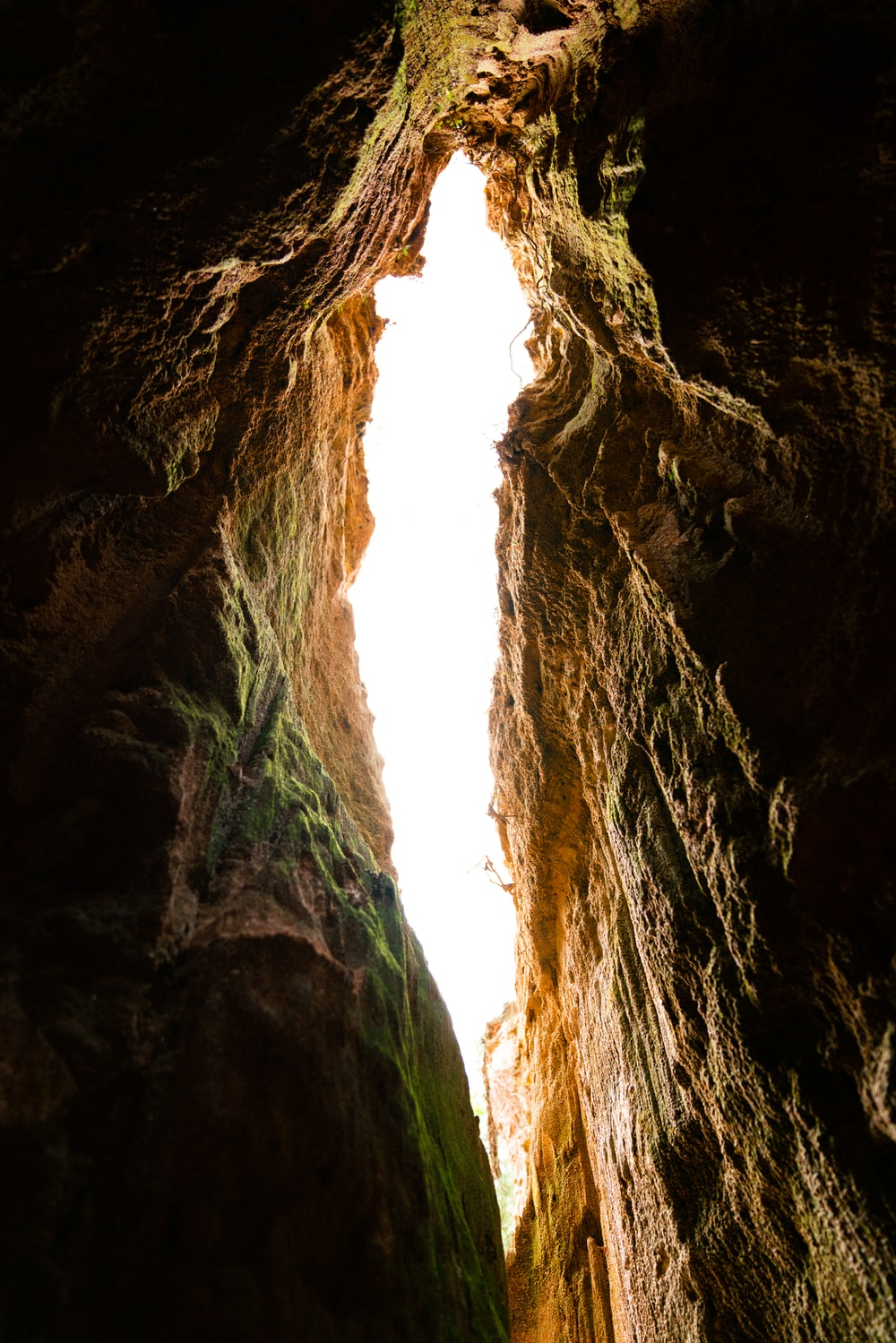 low angle photography inside cave