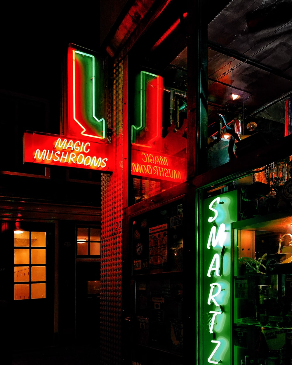 green and red Magic Mushrooms neon light signage
