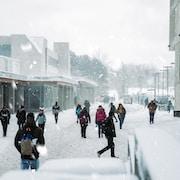 people walking near building during winter season