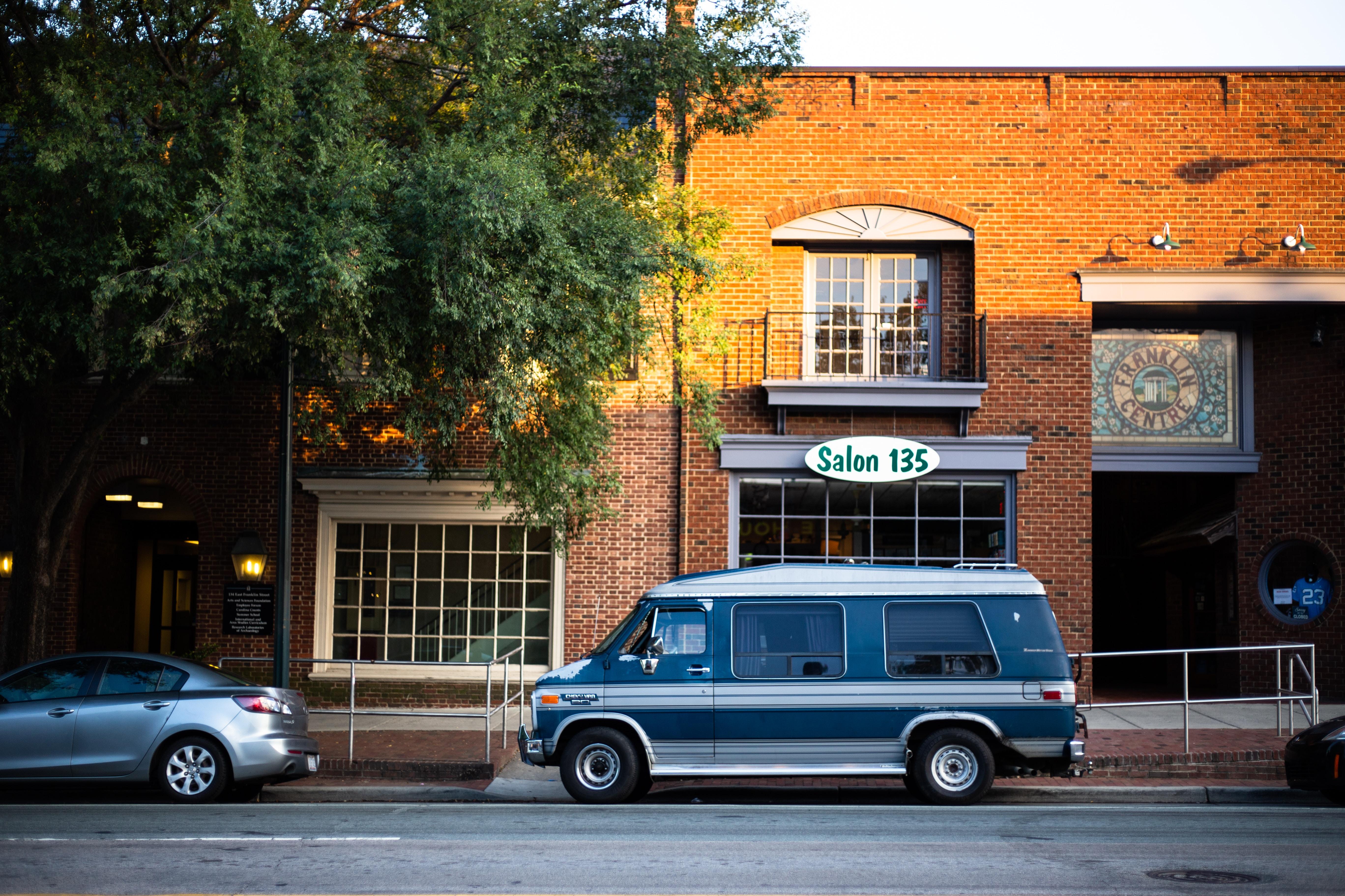 parked blue van