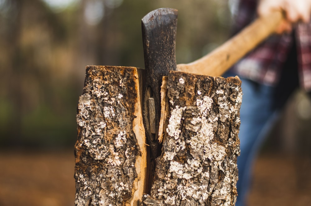 brown handle axe