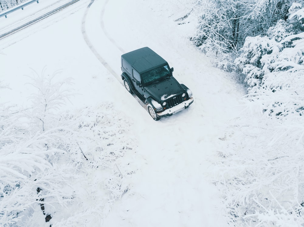 black vehicle near snow covered trees