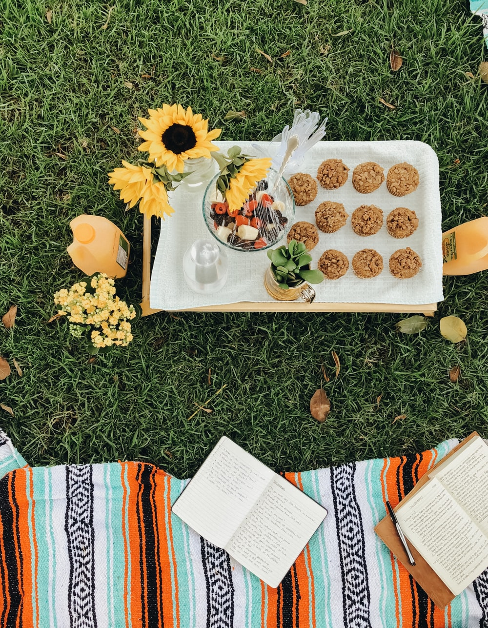 round baked pastries on white tray on green grass
