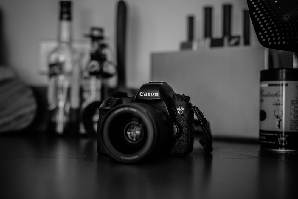 grayscale photography of Canon EOS 6D