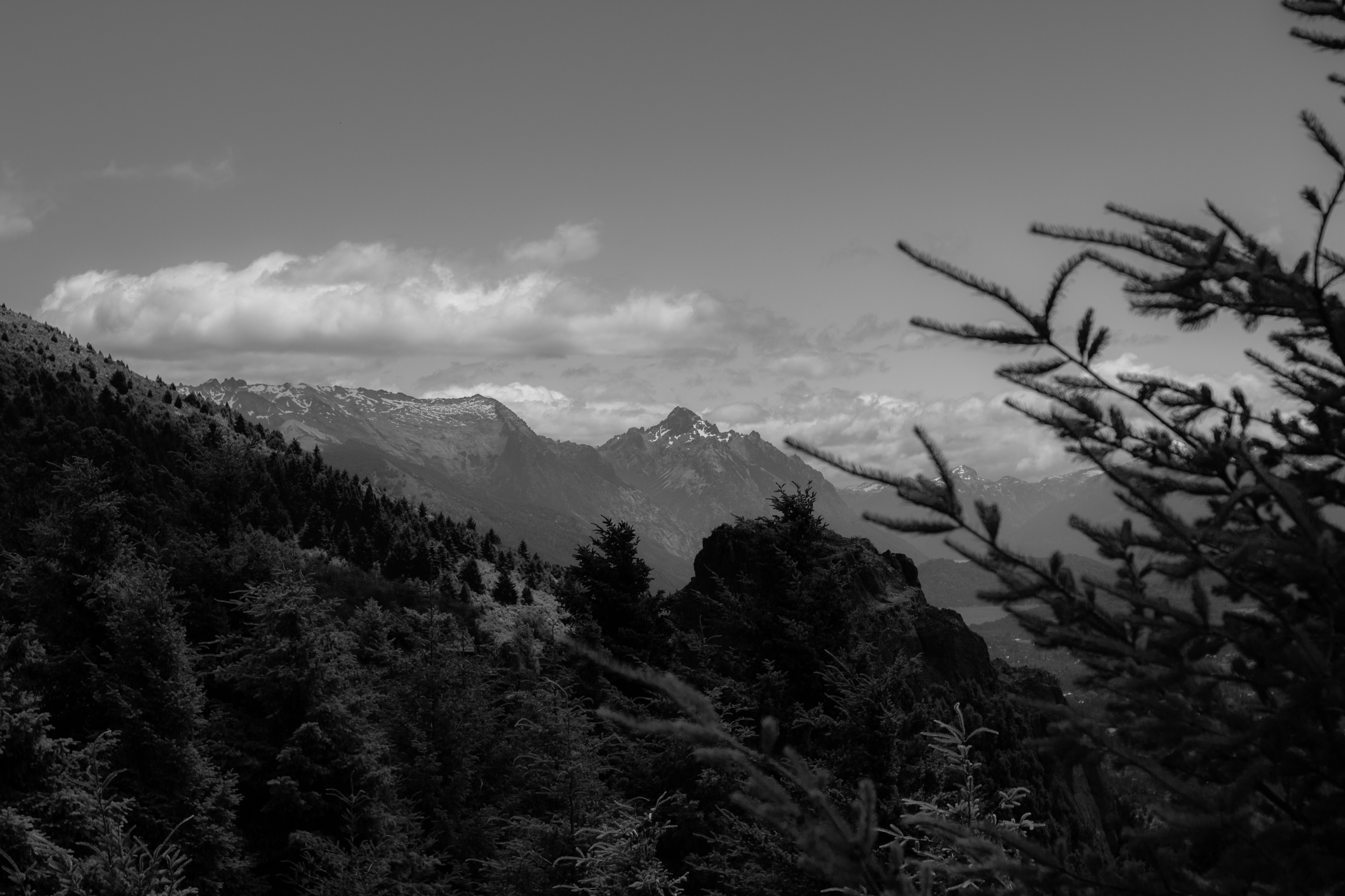 grayscale photo of mountain