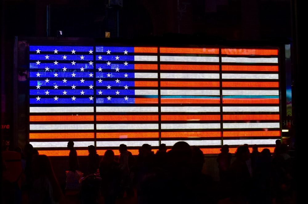 USA flag themed wall lighting decor