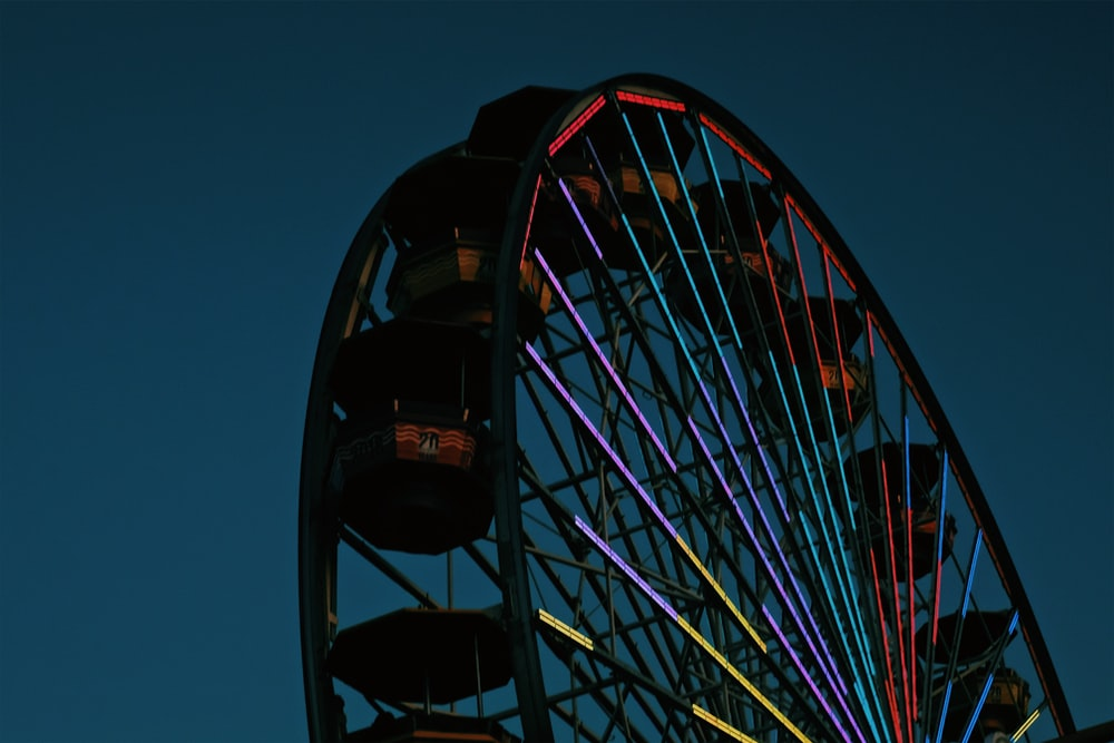red and multicolored Ferris Wheel