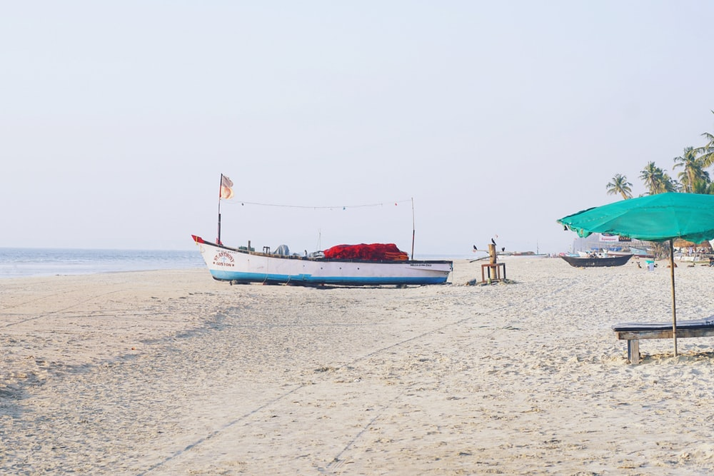 white and boat on shore during daytime