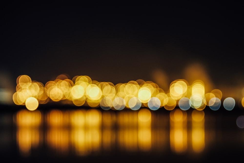 bokeh photography of yellow light