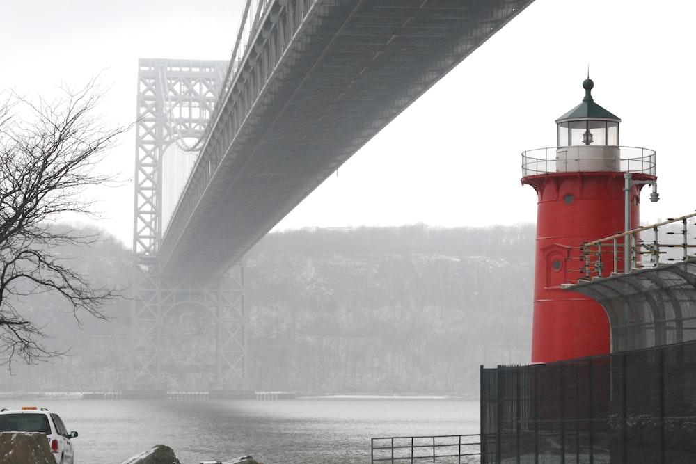 gray steel bridge over body of water